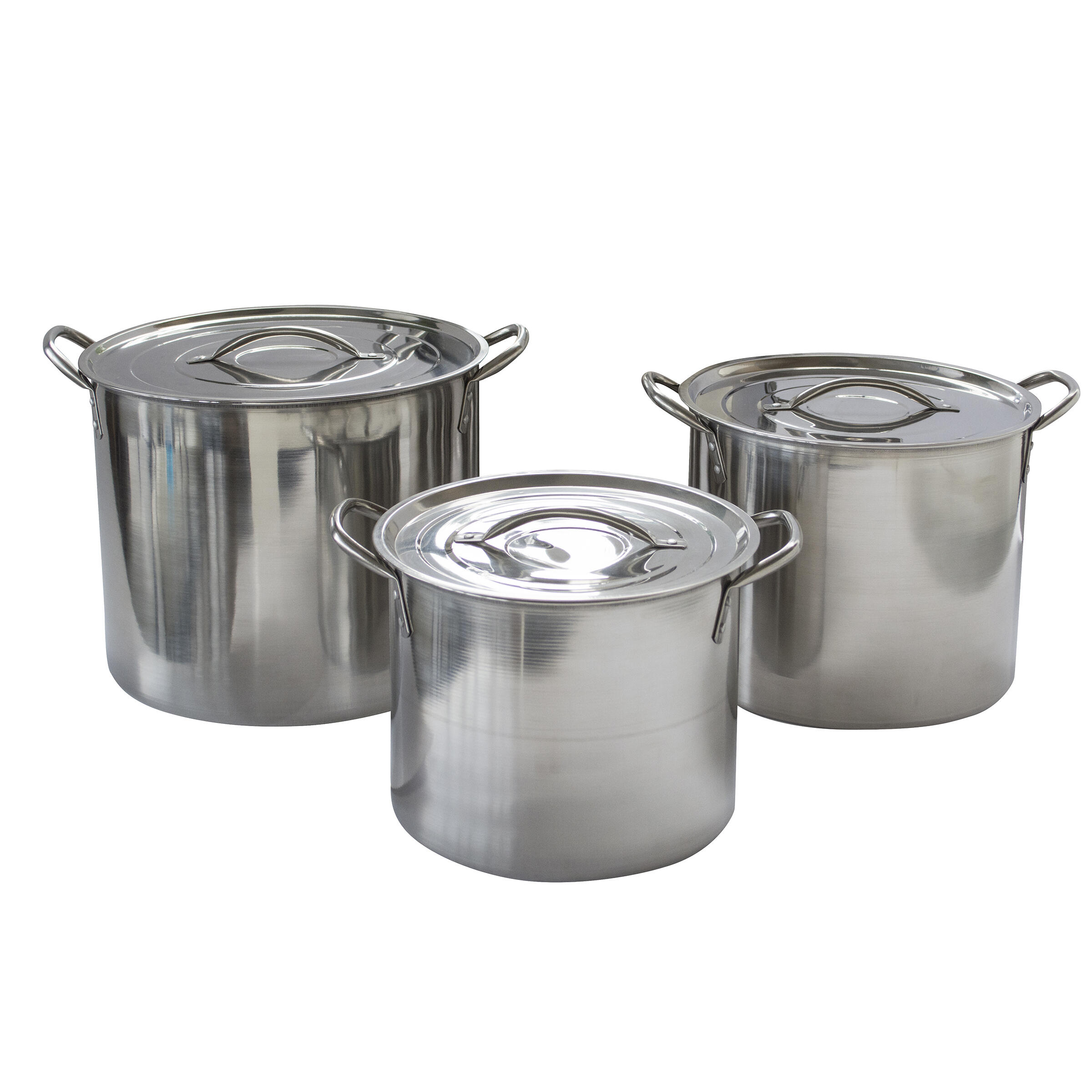 AmeriHome 6-Piece Stainless Steel with Lids Stock Pot Set