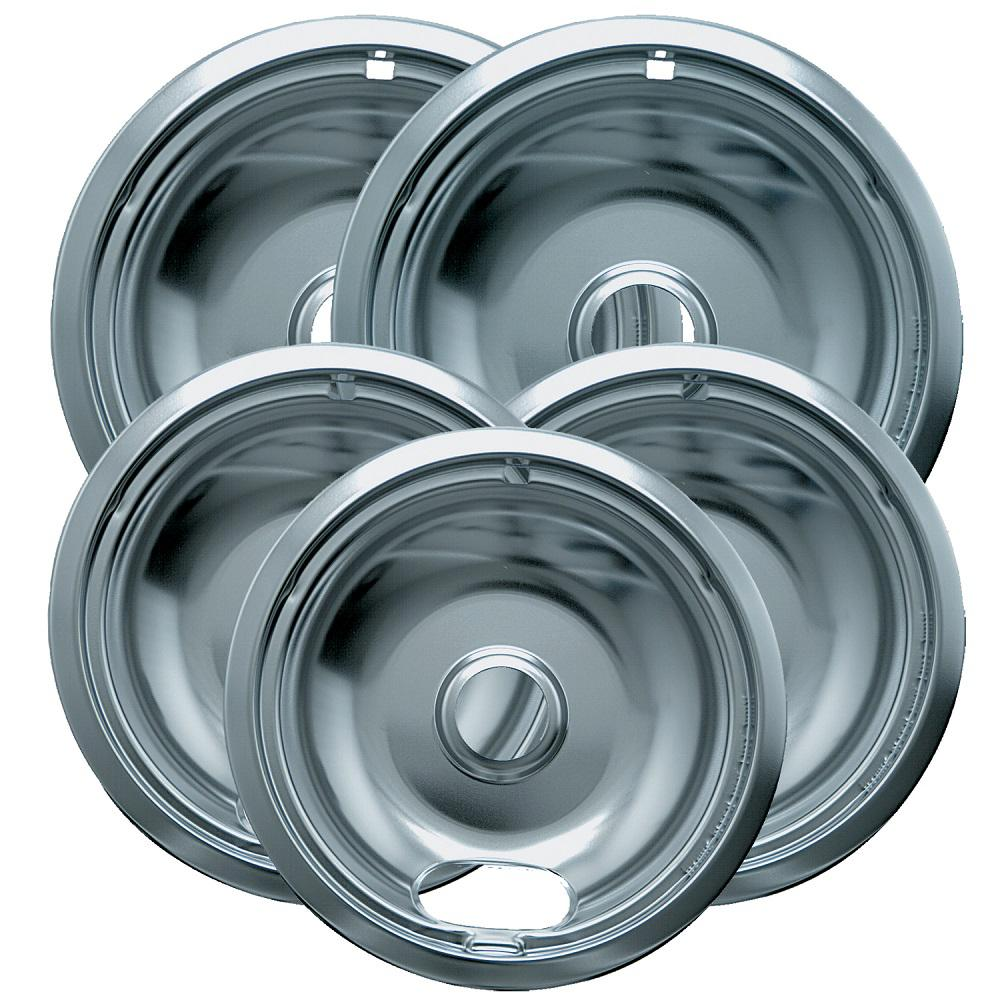 Range Kleen 6 in. 3-Small and 8 in. 2-Large Drip Bowl Plated (5-Pack)