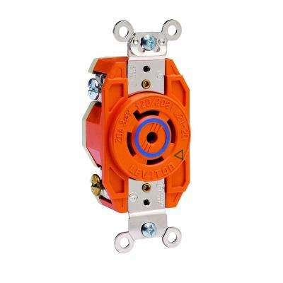 20 Amp 120/208-Volt 3-Phase Flush Mounting Isolated Ground Locking Outlet, Orange