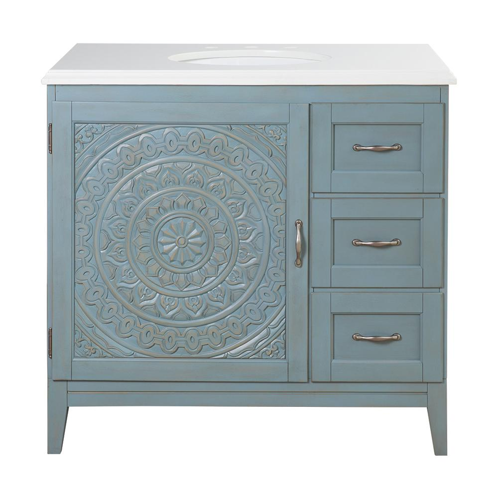 Home Decorators Collection Chennai 37 in. W Single Vanity in Blue Wash with Engineered Stone Vanity Top in Crystal White with White Sink