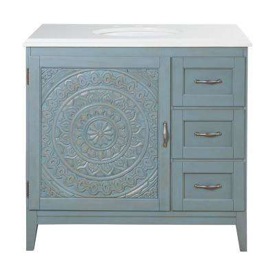 Chennai 37 in. W Single Vanity in Blue Wash with Engineered Stone Vanity Top in Crystal White with White Sink