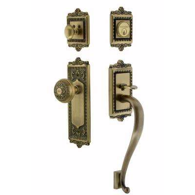 Egg and Dart Plate 2-3/8 in. Backset Antique Brass S Grip Entry Set Egg and Dart Knob