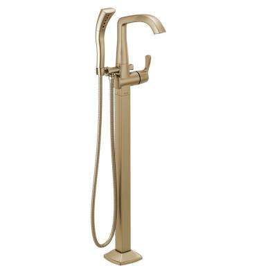 Stryke 1-Handle Freestanding Tub Filler Trim Kit with Handshower in Champagne Bronze (Valve Not Included)