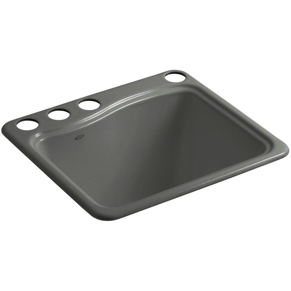 KOHLER River Falls 22 in. x 25 in. Cast Iron Utility Sink in Thunder Grey