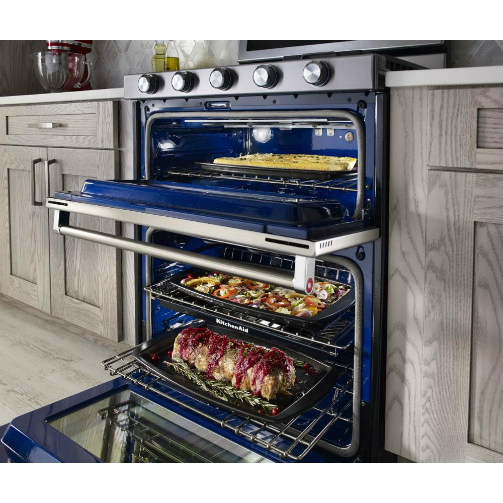 KitchenAid 6.0 cu. ft. Double Oven Gas Range with Self-Cleaning Convection  Oven in Stainless Steel