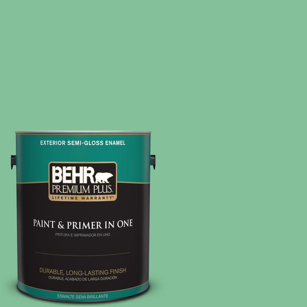 1-gal. #P410-4 Willow Hedge Semi-Gloss Enamel Exterior Paint