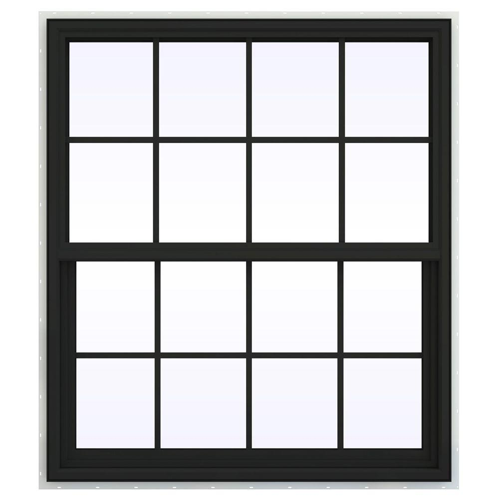 JELD-WEN 41.5 in. x 53.5 in. V-4500 Series Single Hung Vinyl Window with Grids - Bronze