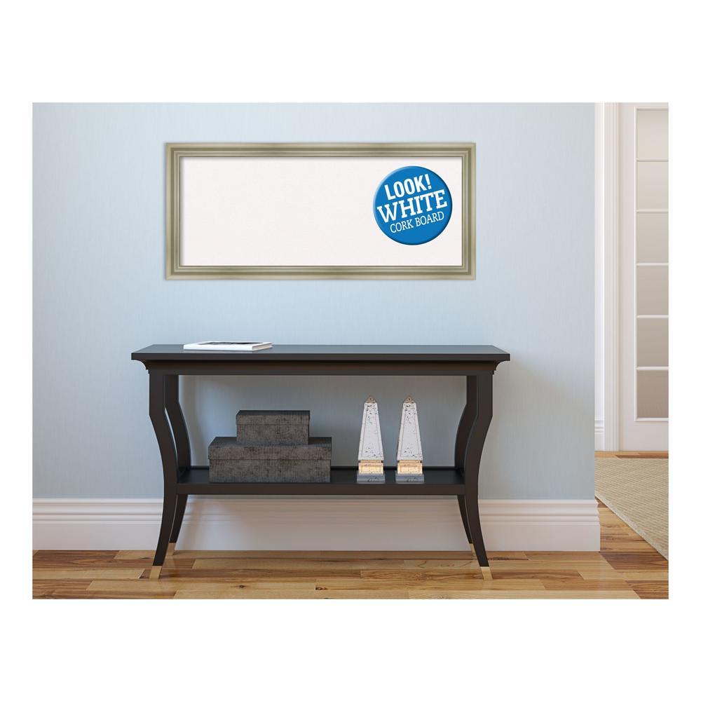 Warm Silver Swoop Wood 32 in. x 14 in. Framed White Cork Memo Board