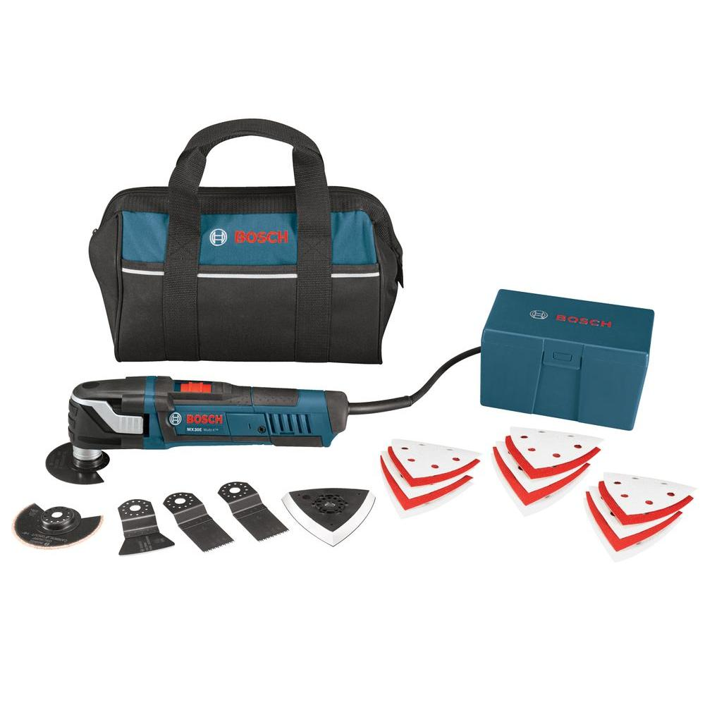 Bosch 3 Amp Corded Multi-X Variable Speed Oscillating Tool Kit for Wood, Metal, Grout Removal, and Sanding (21 Accessories)