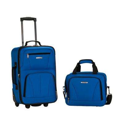 Rockland Rio Expandable 2-Piece Carry On Softside Luggage Set, Blue