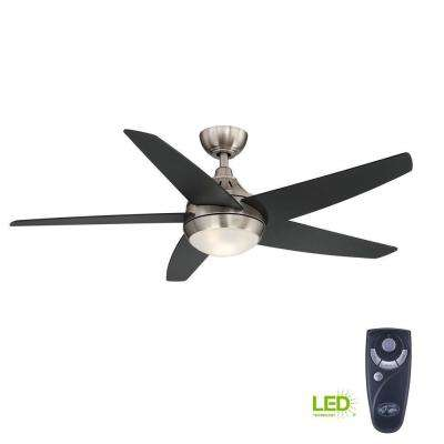 Etris 52 in. LED Indoor Brushed Nickel Ceiling Fan with Light Kit and Remote Control