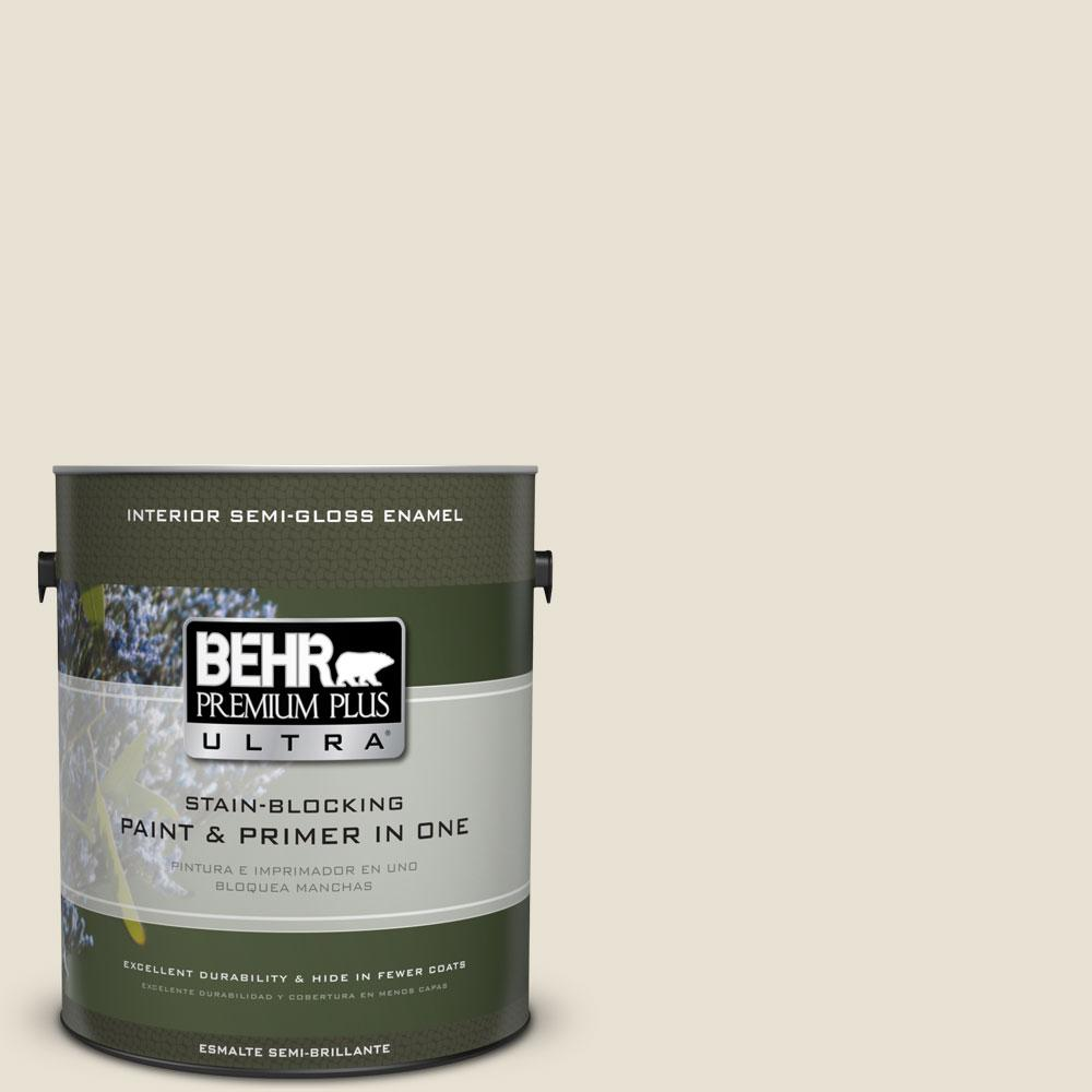 BEHR Premium Plus Ultra 1 gal. #73 Off White Semi-Gloss Enamel Interior Paint