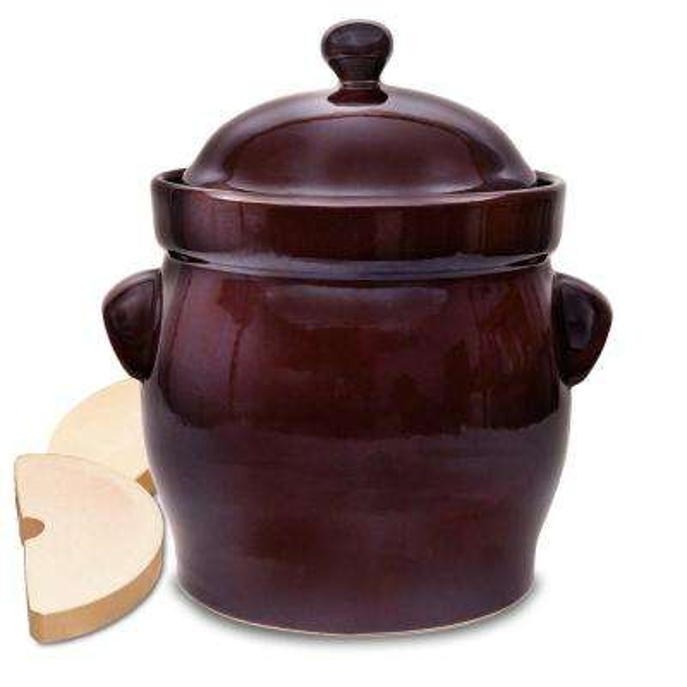 Polish Style 4-Piece 2.6 Gal. Round Ceramic Burnt Sienna Fermentation Crock with Weights