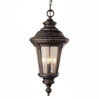 Breeze Way 1-Light Outdoor Black Hanging Lantern with Seeded Glass