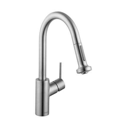 Talis S2 Prep Single-Handle Pull-Down Sprayer Kitchen Faucet in Steel Optik