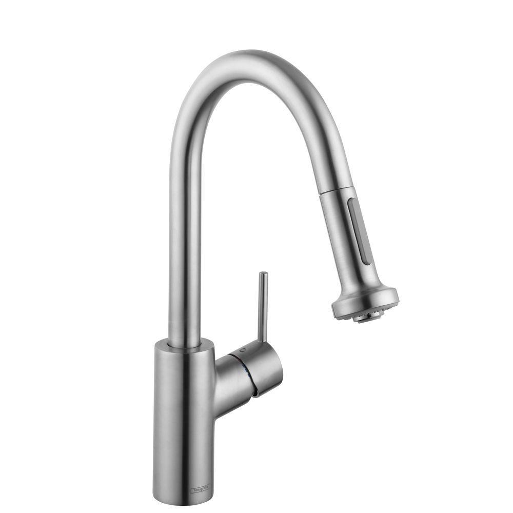 Talis S2 Prep Single-Handle Pull-Down Sprayer Kitchen Faucet in Steel Optik
