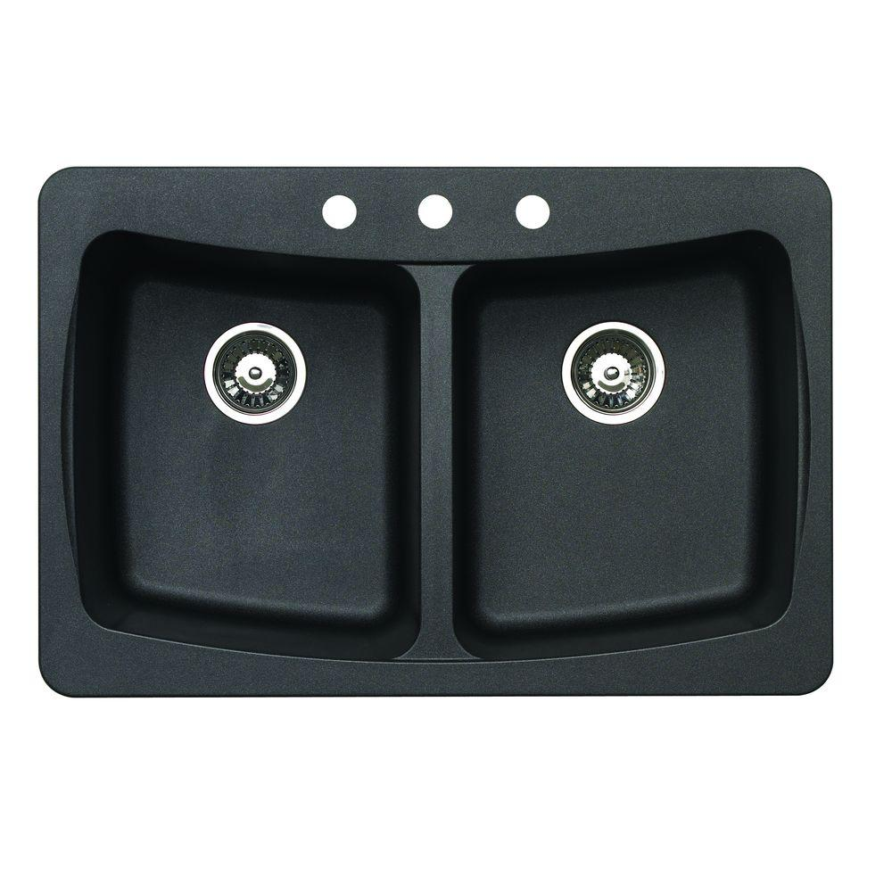 pegasus dual mount granite 33 in. 4-hole double bowl kitchen sink