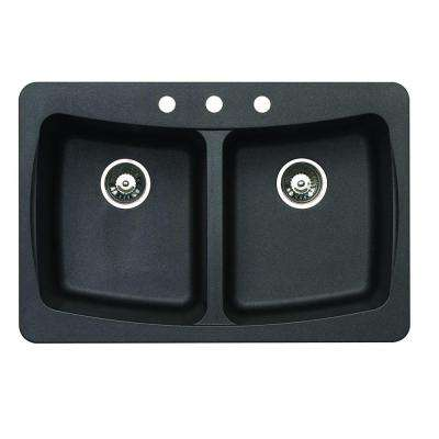 Dual Mount Granite 33 in. 4-Hole Double Bowl Kitchen Sink in Metallic Black