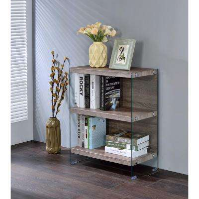 Armon Bookcase in Clear Glass and Gray Oak