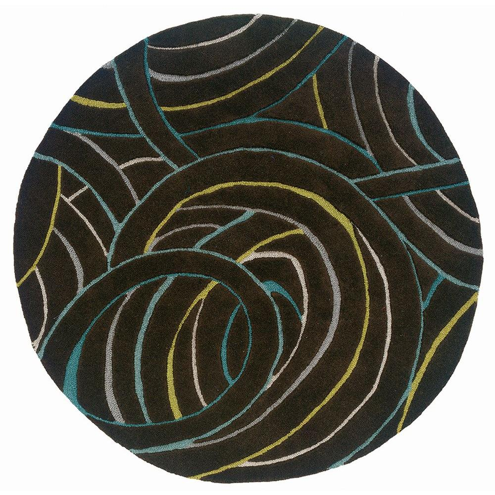 LR Resources Contemporary Miami 5 ft.Round Plush Indoor Area Rug