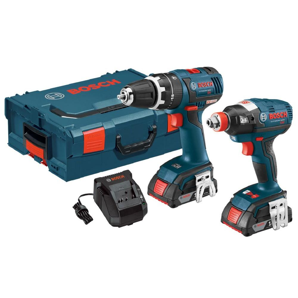 Bosch 18-Volt Lithium-Ion Cordless Hammer Drill/Driver and Socket-Ready Impact Driver Kit (2 Batteries) (L-BOXX) (2-Tool)