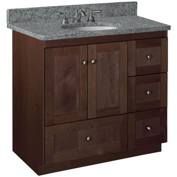 Shaker 36 in. W x 21 in. D x 34.5 in. H Vanity with Right Drawers Cabinet Only in Dark Alder