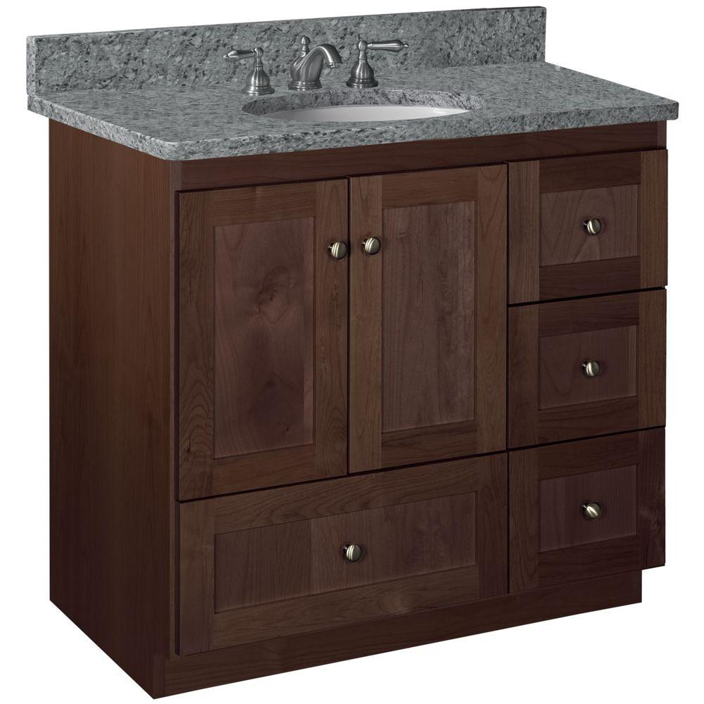 Simplicity by Strasser Shaker 36 in. W x 21 in. D x 34.5 in. H Vanity with Right Drawers Cabinet Only in Dark Alder
