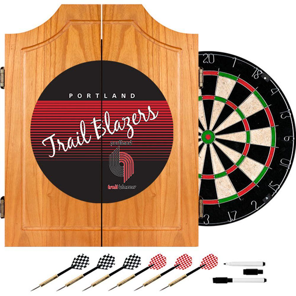 20.5 in. Portland Trail Blazers Hardwood Classics NBA Wood Dart Cabinet