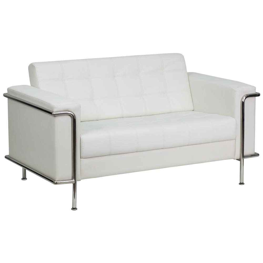 Flash furniture hercules lesley series contemporary white leather loveseat with encasing frame zbles8090lswh the home depot