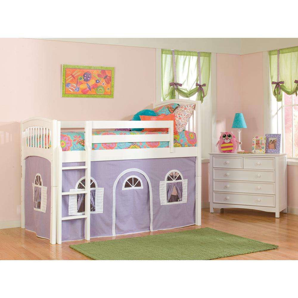 Bolton Furniture Windsor White Twin Low Loft with Lilac and White Bottom Curtain The Windsor bed features a classic spindle with soft edges and finials. Coordinates with the Essex furniture collection, but versatile for any room. Twin Loft Bed with imaginative tent play area. Color: White.