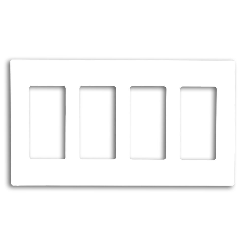 Leviton 4 Gang Decora Less Wall Plate White