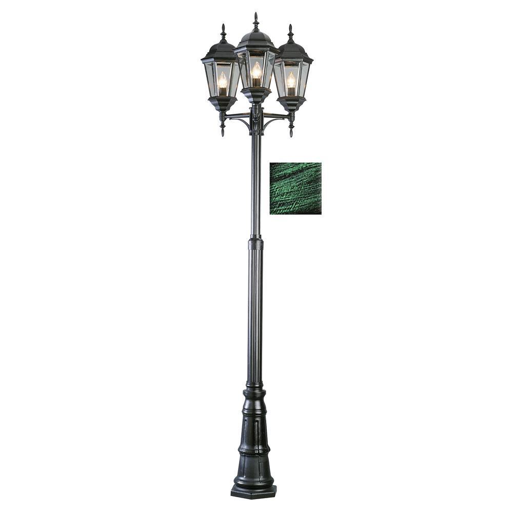 Classical 3-Light Outdoor Verde Green Lamp Post