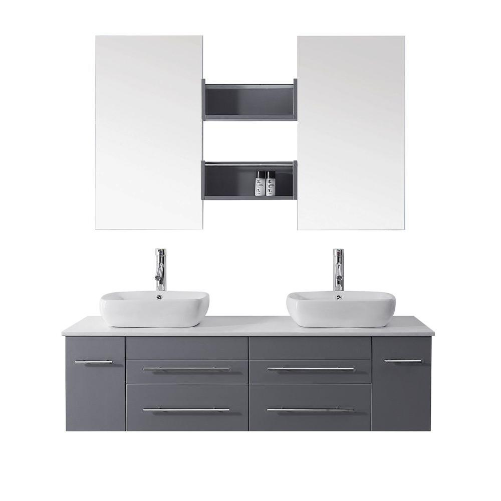 Virtu USA Augustine 60 in. Double Vanity in Grey with Stone Vanity Top in White and Mirror