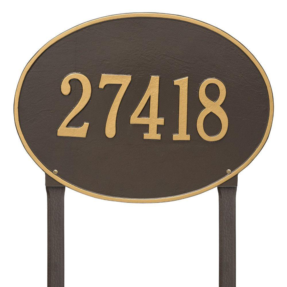 Whitehall Products Hawthorne Estate Oval Bronze/Gold Lawn 1-Line Address Plaque