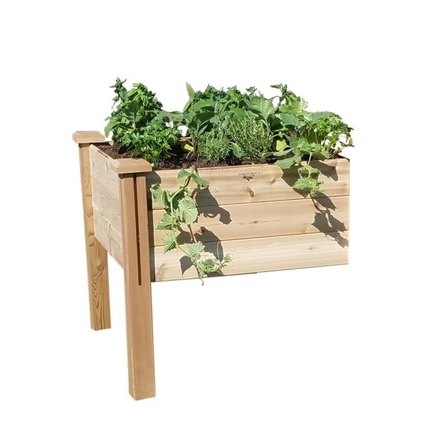34 in. x 34 in. x 32 in. Modular Raised Garden Bed Extension Kit Wood Planter
