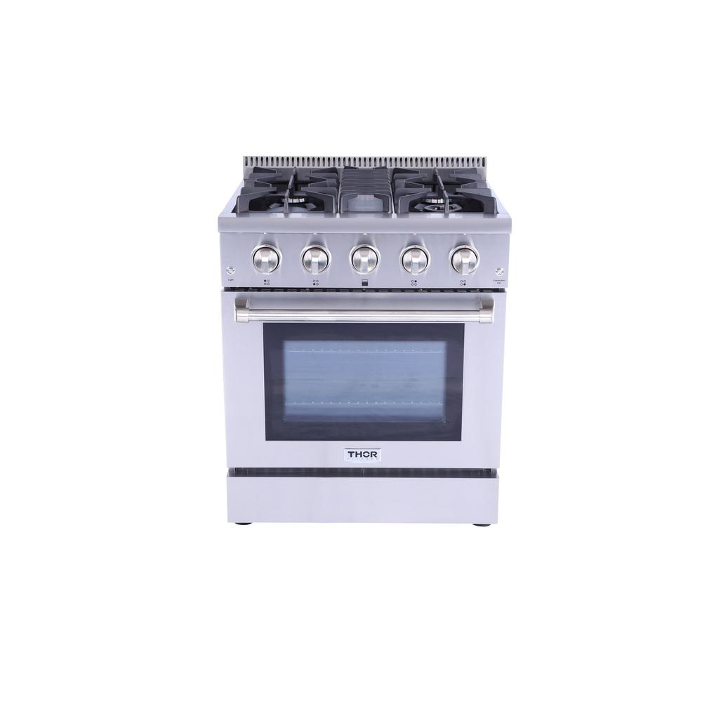 Thor Kitchen 4.2 cu. ft. Professional Gas Range in Stainless Steel (Silver) This 30 in. Professional Style Gas Range will fulfill all your cooking desires. Main features include one 18,000 BTU Sealed Single Burners, two 12,000 BTU Sealed Single Burners along with one 15,000 BTU Sealed Dual Burners with a 650 BTU Simmer Function. The 4.2 cu. ft. 22,000 BTU oven contains a commercial convection fan along with 13,000 BTU Oven Broiler. Continuous grating to facilitate the movement of large cookware. Color: Stainless Steel.