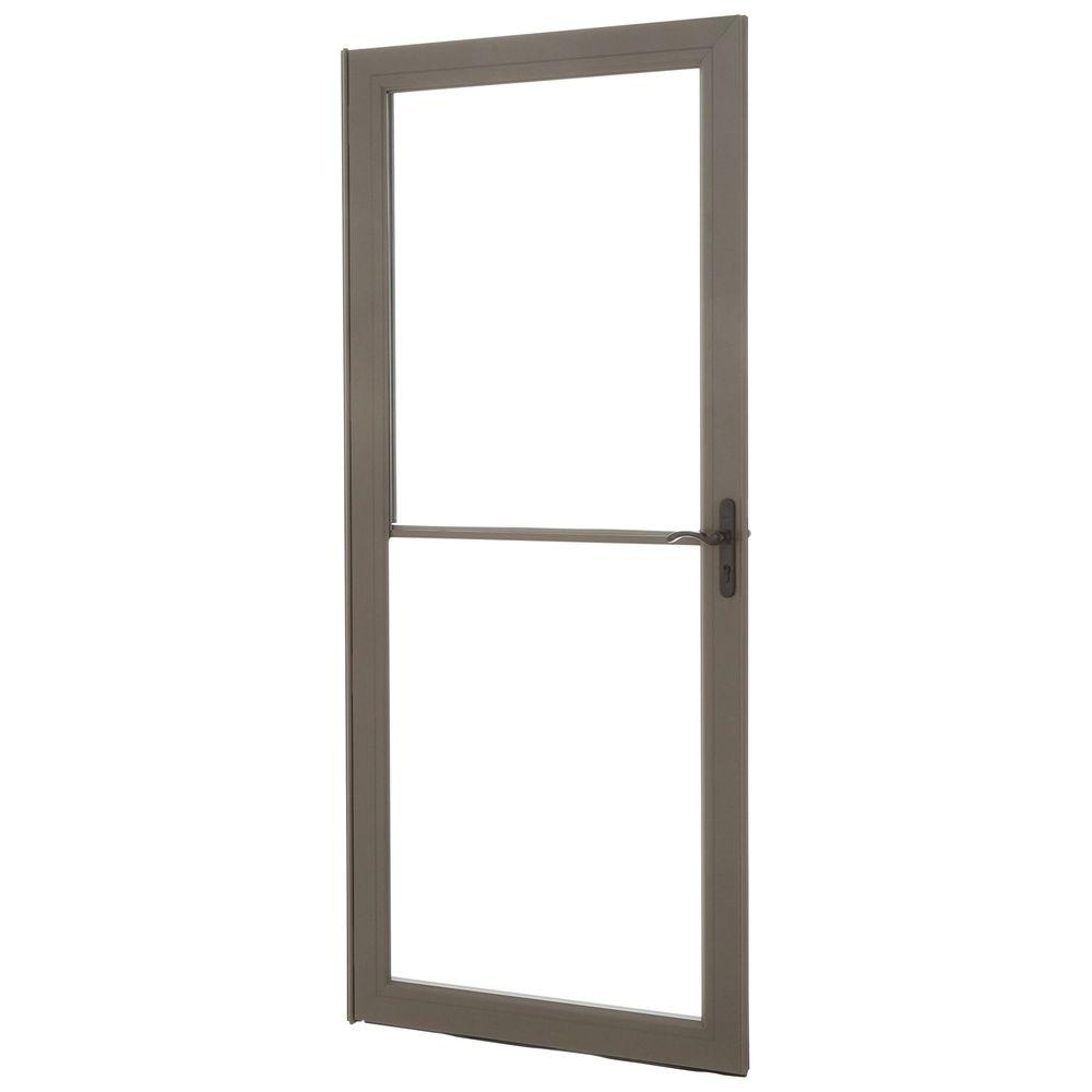 Andersen 36 in  x 80 in  3000 Series Terratone Right-Hand Self-Storing Easy  Install Storm Door with Oil-Rubbed Bronze Hardware