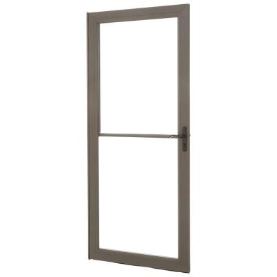 36 in. x 80 in. 3000 Series Terratone Right-Hand Self-Storing Easy Install Storm Door with Oil-Rubbed Bronze Hardware