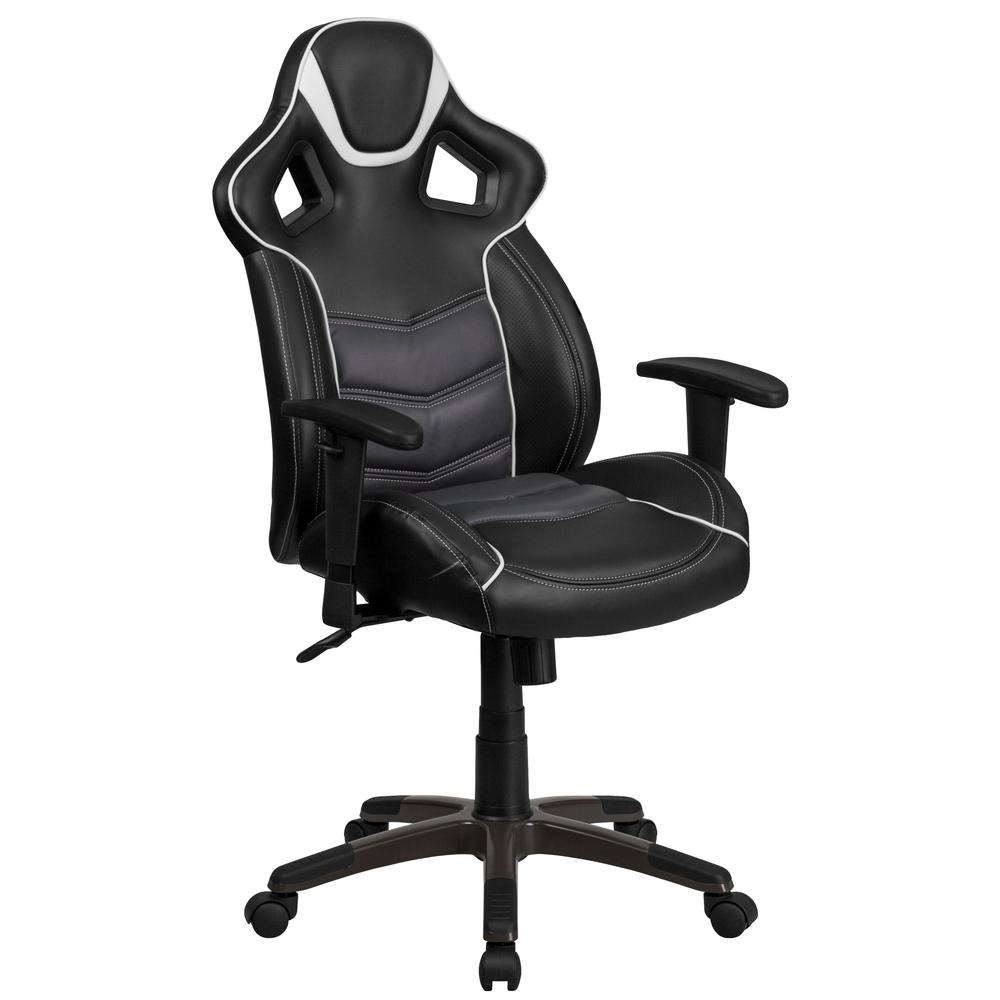 Flash Furniture High Back Storm Gray Vinyl Executive Swivel Office Chair With Inner Coil Spring Comfort Seat And Base Cpb331a01gy The Home Depot