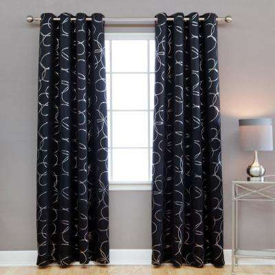 96 in. L Polyester Flower Foil Blackout Curtains in Black (2-Pack)