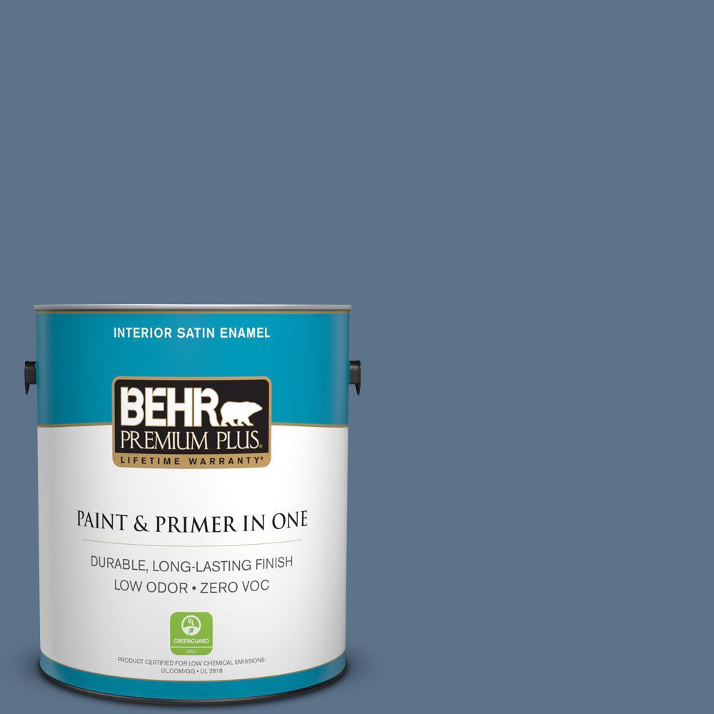 1-gal. #BXC-75 Saltbox Blue Satin Enamel Interior Paint