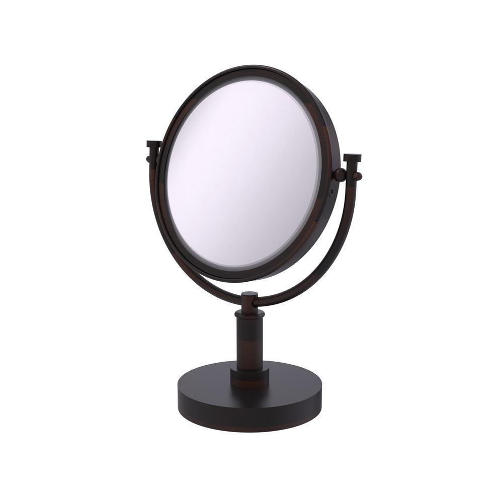 8 in. Vanity Top Make-Up Mirror 5X Magnification in Venetian Bronze