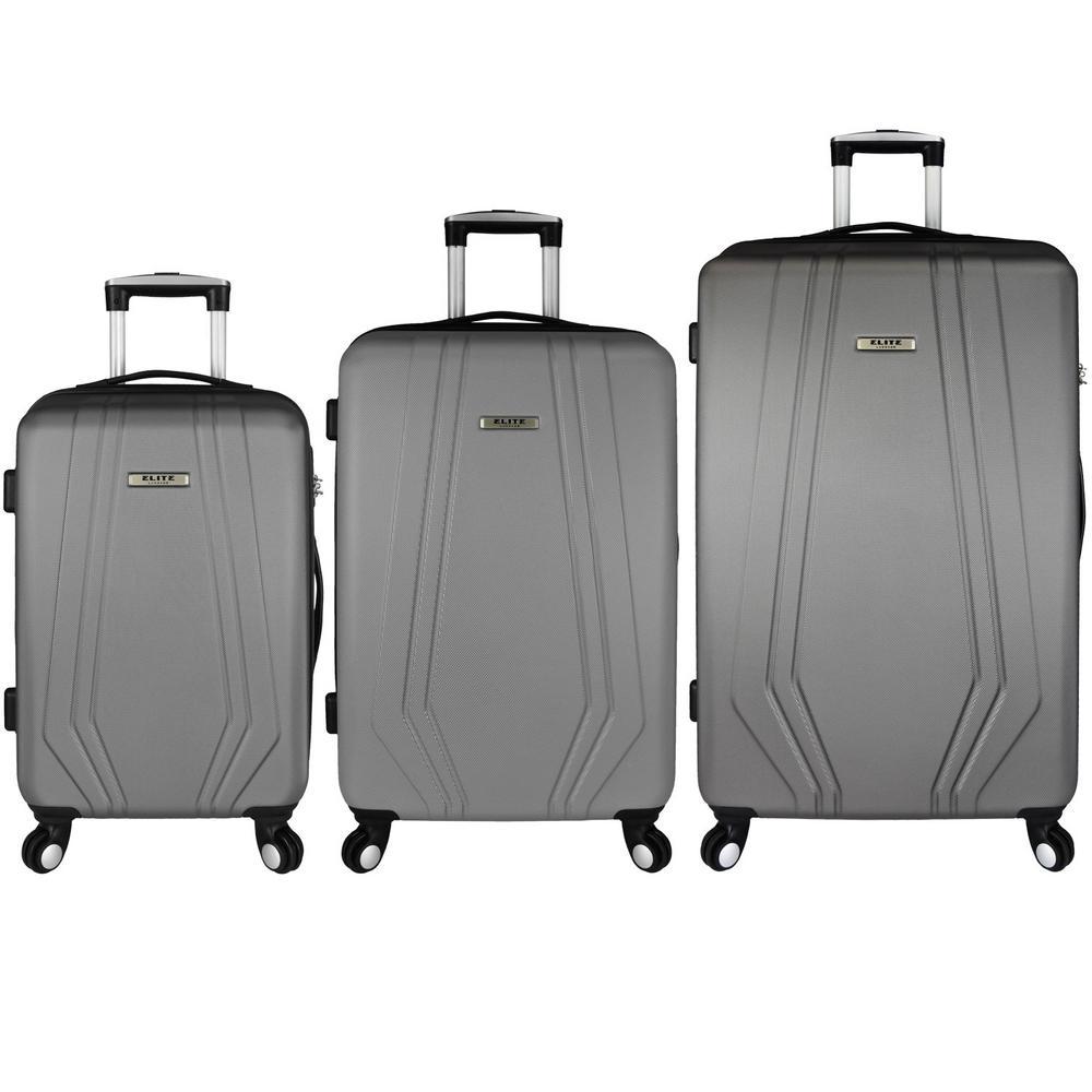 Elite Luggage Paris 3-Piece Hardside Spinner Luggage Set, Grey EL09076G