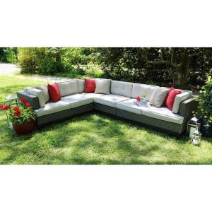 AE Outdoor Camilla 4-Piece All-Weather Wicker Patio Sectional with Sunbrella Fabric by AE Outdoor