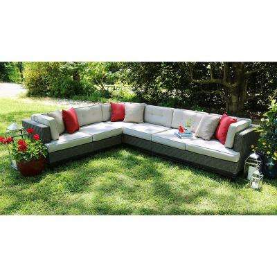 Camilla 4-Piece All-Weather Wicker Patio Sectional with Sunbrella Fabric