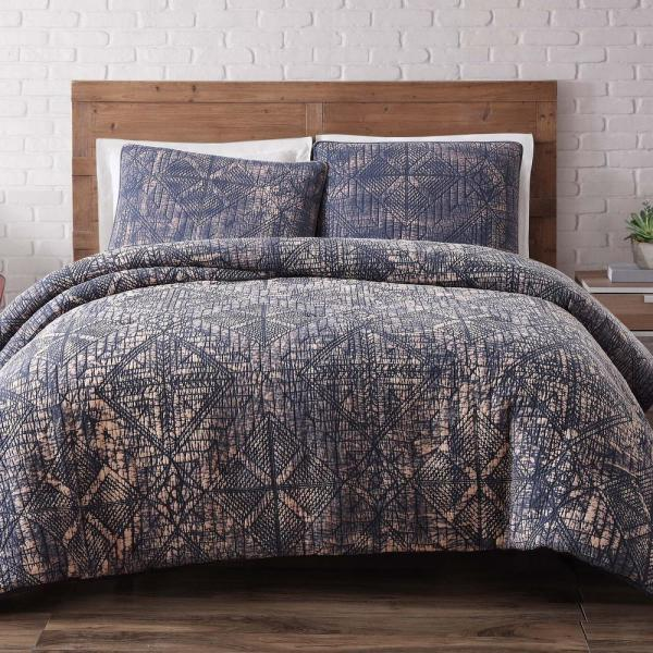 Brooklyn Loom Sand Washed Cotton 3-Piece Indigo Full and Queen Duvet