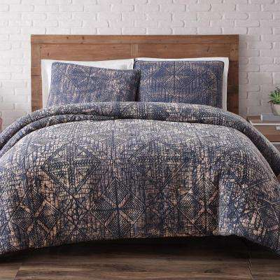 Sand Washed Cotton Indigo Blue Full and Queen Quilt Set