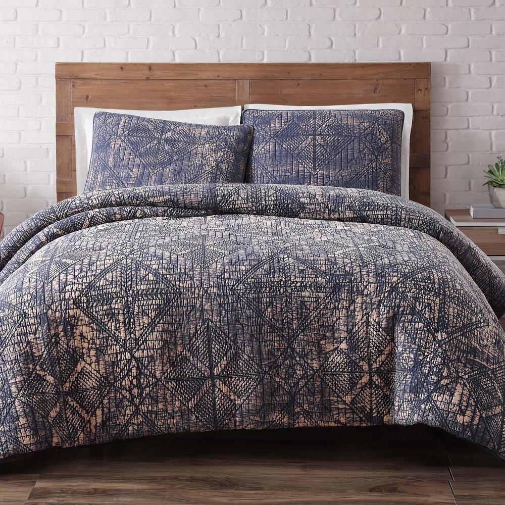 Sand Washed Cotton Twin Xl Quilt Set In Indigo Blue