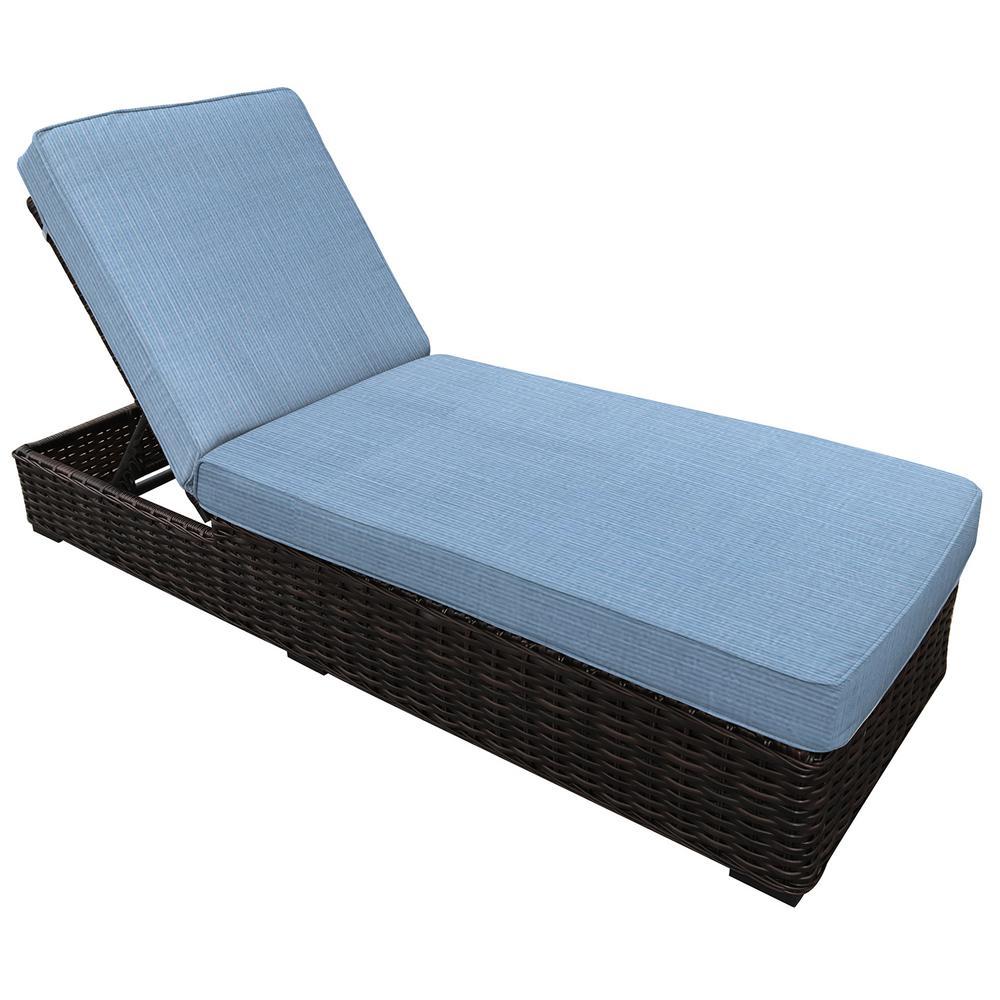 Tremendous Envelor Santa Monica Adjustable Wicker Outdoor Chaise Lounge With Sunbrella Air Blue Cushions Cjindustries Chair Design For Home Cjindustriesco