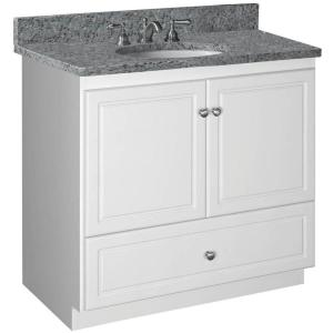 Ultraline 36 in. W x 21 in. D x 34.5 in. H Simplicity Vanity with No Side Drawers in Satin White